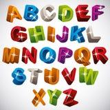3D字体,光滑的五颜六色的字母表 免版税库存照片