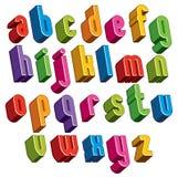 3d字体,导航五颜六色的信件,几何尺寸字母表 图库摄影