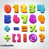 3D字母表数字颜色。传染媒介例证。 免版税库存图片