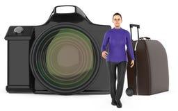 3d字符、妇女、行李袋子和照相机 向量例证