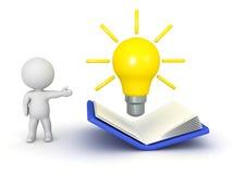 3D字符陈列开放书和想法电灯泡 免版税库存照片