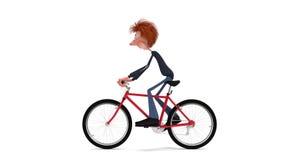 3D学生乘自行车 影视素材