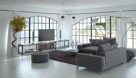 3D客厅内部有电视机的 免版税库存图片