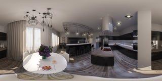 3d客厅室内设计例证无缝的全景  免版税库存图片