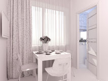 3D室内设计厨房的形象化单室公寓的 免版税库存图片