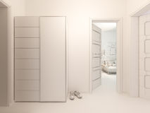 3D室内设计大厅的形象化单室公寓的 免版税库存照片