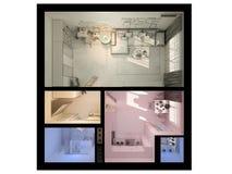 3D室内设计的形象化单室公寓 免版税库存图片