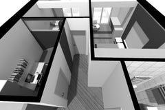 3D室内设计B/W 库存照片