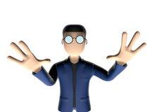 3D害怕的漫画人物 皇族释放例证