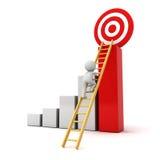 3D对红色目标目标的人上升的梯子在成功的图表顶部 免版税库存照片