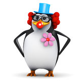 3d小丑企鹅 库存照片