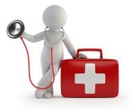 3d小人民-听诊器和医疗成套工具 库存照片