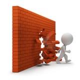 3d小人-通过砖墙 免版税图库摄影