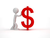 3d小的人推挤红色美元的符号 免版税库存照片