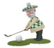 3d小的人golfist。 库存照片