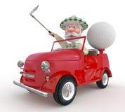 3d小的人golfist乘汽车。 图库摄影