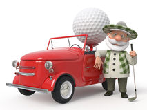 3d小的人golfist乘汽车 免版税库存图片