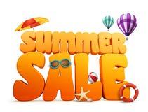 3D尺寸夏天销售标题词在白色背景中 向量例证