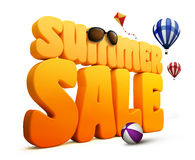 3D尺寸夏天销售标题词在白色背景中 库存例证