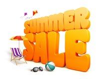 3D尺寸夏天销售标题词在白色背景中 皇族释放例证