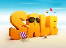 3D尺寸销售标题词为夏天 向量例证