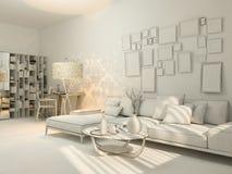 3D居住在单室公寓的室内设计的形象化 库存照片