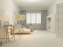 3D居住在单室公寓的室内设计的形象化 库存图片