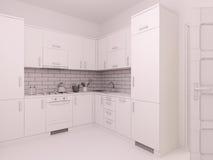 3D居住在单室公寓的室内设计的形象化 图库摄影