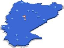 3d布基纳法索的等轴测图地图有蓝色表面和城市的 库存图片