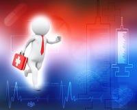3d帮助背景购买权医生第一个图象查出人员运行中集合小的白色 库存例证