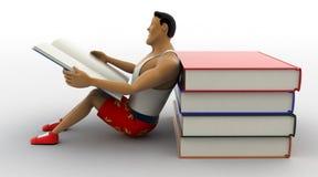 3d强壮男子的人阅读书和倾斜在堆书概念 图库摄影