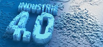 3d形成德国词Industrie 4的小蓝色框翻译  0个标志-例证 库存图片