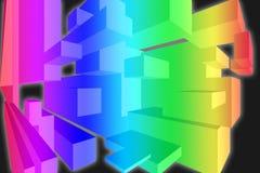 3D彩虹颜色盒墙纸-尺寸背景 向量例证