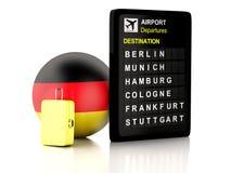 3d德国机场在白色backgrou的板和旅行手提箱 库存照片