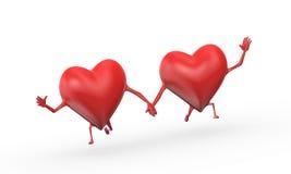 3d心脏爱友谊例证 免版税库存照片