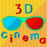 3D戏院文本和立体声玻璃概念艺术 免版税库存照片