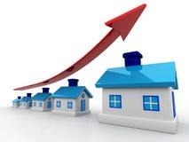 3d房子和箭头图表 实际庄园的增长 皇族释放例证
