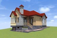 3D房子在亚美尼亚回报 图库摄影