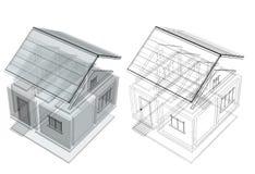 3d房子草图 免版税库存照片
