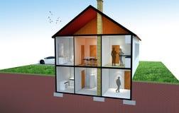 3D房子部分的翻译 免版税库存图片