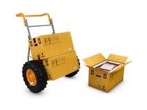 3d手推车、箱子和一个开放包裹的例证,在白色 皇族释放例证