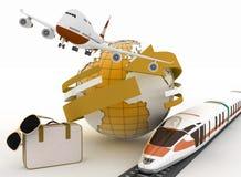 3d手提箱、飞机、火车和地球 免版税库存照片