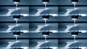 3D打印机与液体面团另外形状特写镜头的打印薄煎饼 股票视频