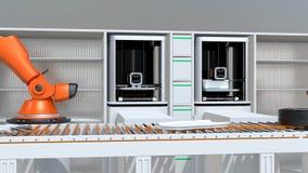 3D打印机和机器人胳膊在生产线 皇族释放例证