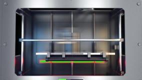 3D打印机在工作 您的对象的空的空间 股票录像