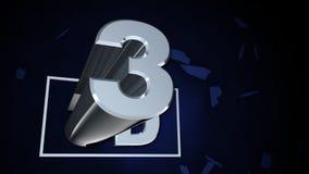 3D打碎在蓝色的屏幕 股票录像