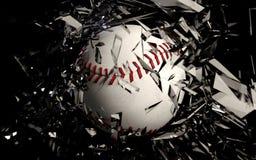 打破玻璃的棒球 免版税库存照片