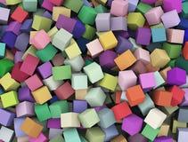 3d抽象五颜六色的立方体箱子背景 库存照片