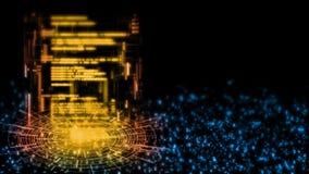 3D抽象技术背景翻译  软件编码在几何管内的科学幻想小说 皇族释放例证