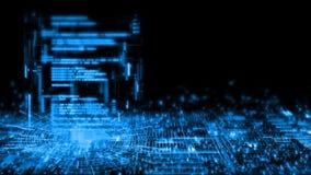 3D抽象技术背景翻译  软件编码在迷离发光的二进制电路板的几何管内的科学幻想小说 库存例证